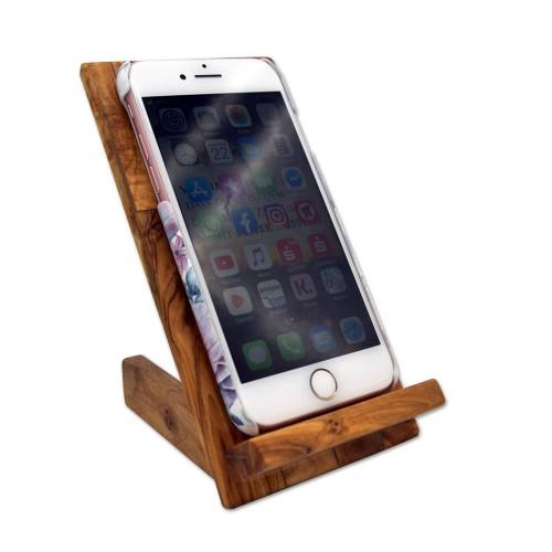 Handy-Ständer aus Olivenholz | D.O.M. Olivenholz erleben
