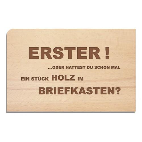 Holzpostkarte Erster - Grußkarte