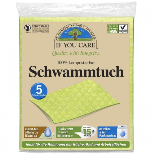 Öko Schwammtuch saugstark 5er Pack | If You Care