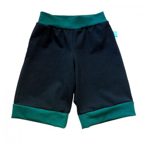 Dunkelblaue Bio Jersey Shorts mit Kontrastbündchen | bingabonga