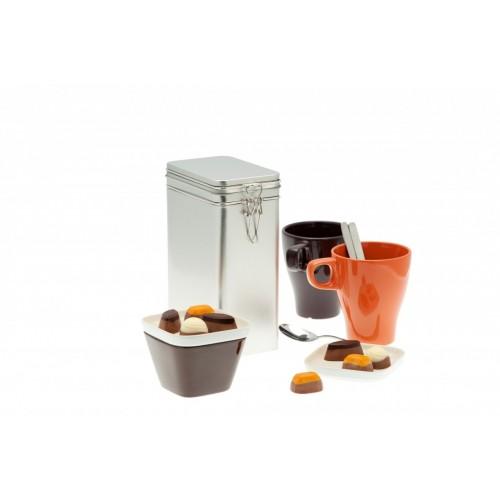Eckige Vorratsdose & Kaffeedose 500, Weißblech | Tindobo