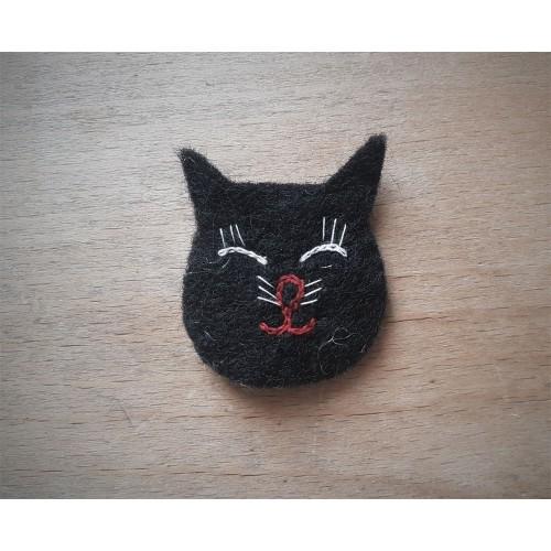 Schwarze Katze Aufnäher aus Öko Wollfilz kbT | Ulalü