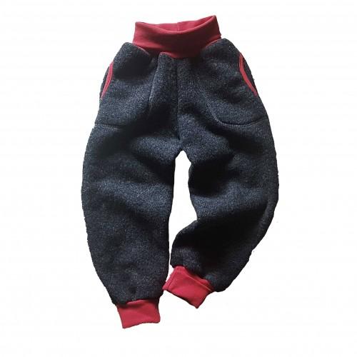 Bio Wollfleece Kinder Hose mit Taschen & farbigen Akzenten | Ulalü