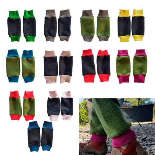 Ulalü Kinder Beinstulpen mit Kontrastbündchen - Bio Walkwolle