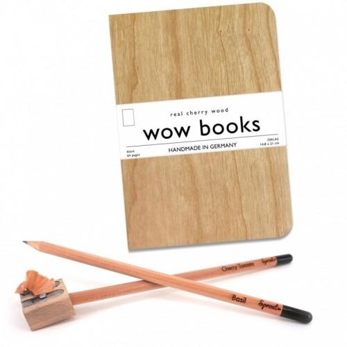 wowbooksbrand Kirschholz Notizbuch A5 mit Sprout Bleistift