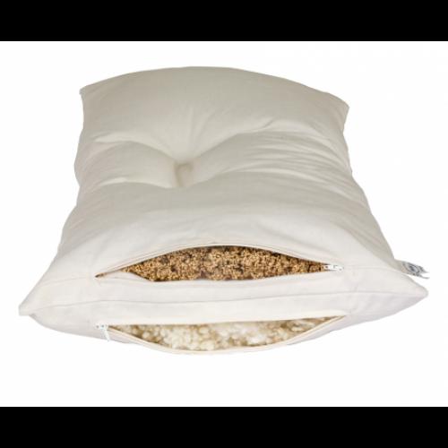 Speltex 2-Kammer Kombi-Schlafkissen mit Wollkügelchen & Bio Hirse