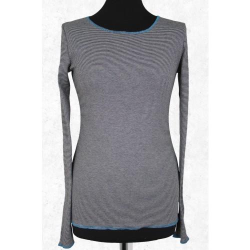 Damen Langarmshirt geringelt (schwarz-weiß-türkis) | Jalfe