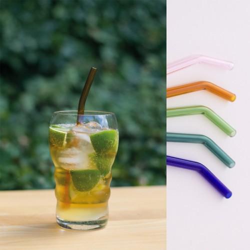 Gebogene Smoothie Glas-Trinkhalme klar oder bunt | Living Designs