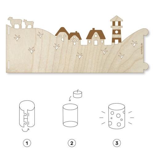 Lichterpost DEICH Windlicht & Grußkarte aus Ahornholz | Echtholz