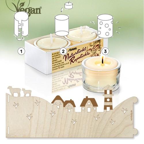 Windlicht Lichterpost DEICH aus Ahornholz & stuwa Rapswachs Glas-Teelichter