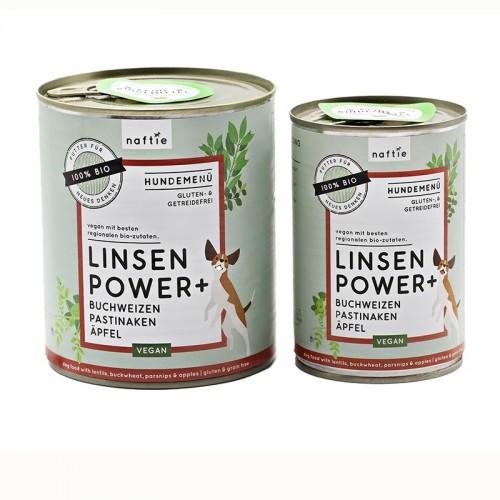 Bio Linsen Power+ veganes Dosenfutter-Menü von naftie