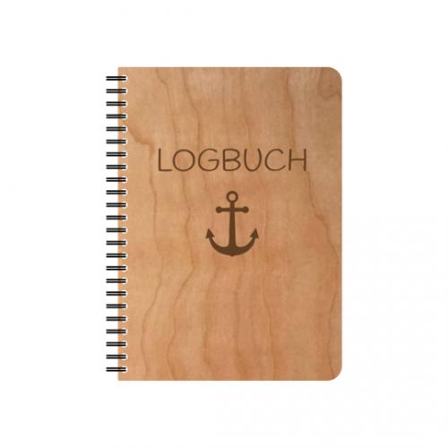 Logbuch Öko Notizbuch mit Echtholz Umschlag