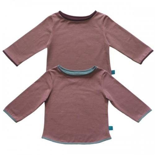 3/4 Longsleeve Altrosa mit Kontrastsaum für Kinder | bingabonga