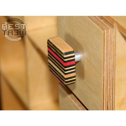 Pink-schwarz Möbelknopf aus Skateboard-Holz | Restwert