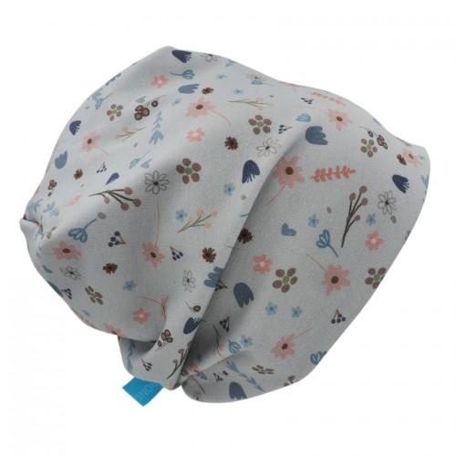 "Bio Mütze ""Line"" Blumen - Bio-Jersey, grau-blau | bingabonga"