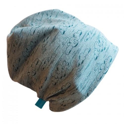 Maigrün melierte Bio Unisex Mütze Line Wolken | bingabonga