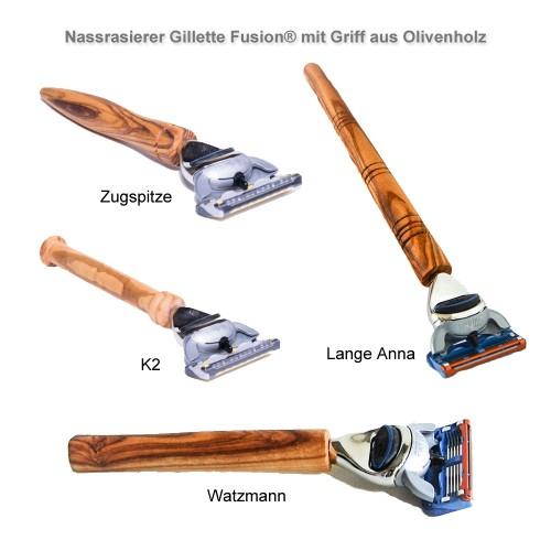 Olivenholzgriff Nassrasierer Gillette Fusion® | Olivenholz erleben