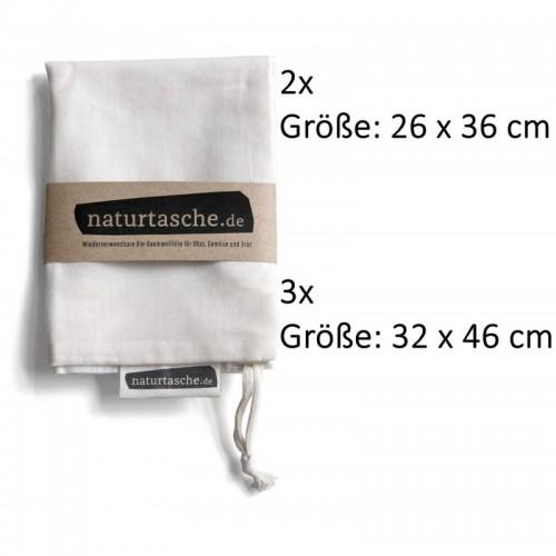 Naturtaschen 5er Set Beutel aus GOTS Bio Baumwolle