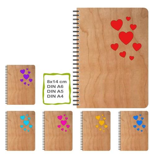 Echtholz Notizbuch Herzen, Öko Papier, nachfüllbar