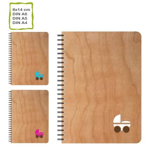 Echtholz Notizbuch KINDERWAGEN, Öko Papier, nachfüllbar