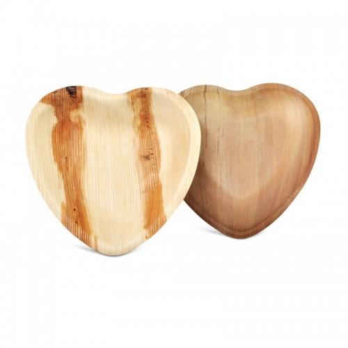 Recycelbarer Palmblatt-Teller in Herzform