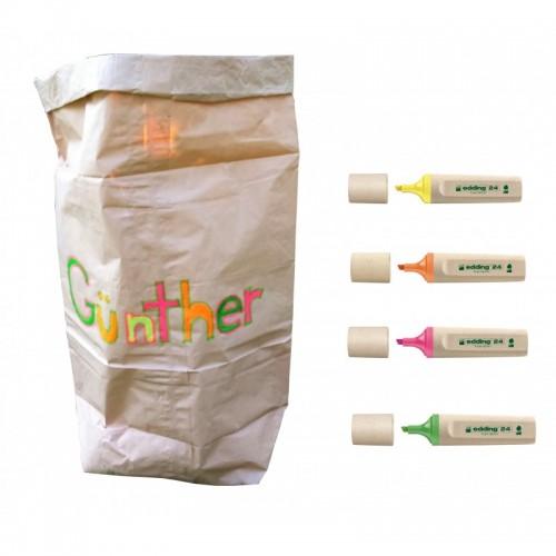 Papiersack und edding EcoLine Textmarker für DIY