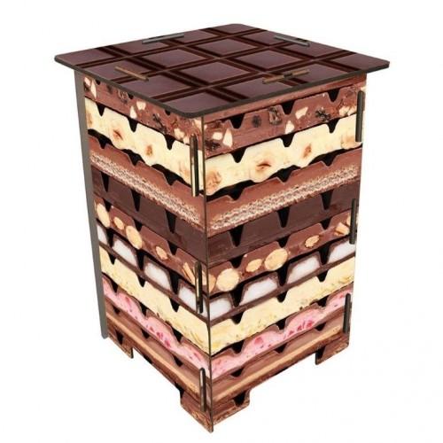 Photohocker Schokolade aus MDF, Öko Beistelltisch | Werkhaus