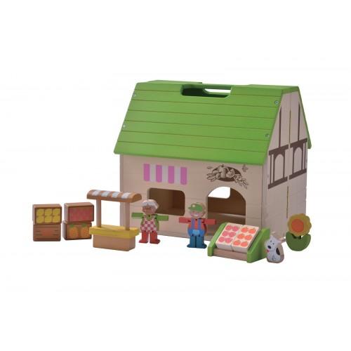 Bio-Laden Puppenhaus Öko Holzspielzeug | EverEarth®
