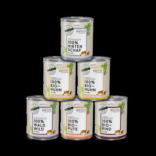 naftie Reinfleisch Dosen für Hunde Mischpaket 6x800g