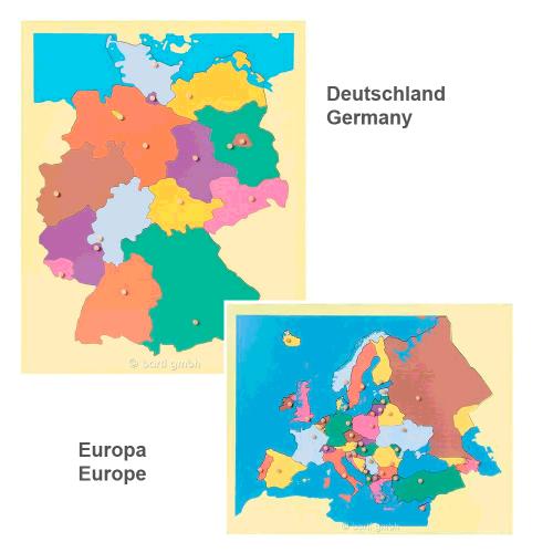 Deutschland oder Europa Puzzlekarte aus Holz | Bartl