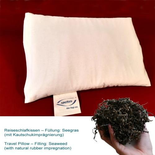 Reise-Schlafkissen mit Wollkügelchen (kbT) in Bio-Baumwoll-Hülle | speltex