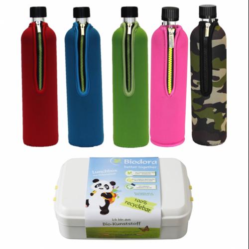 Öko Reiseset: Bio Trinkflasche und Bio Lunchbox