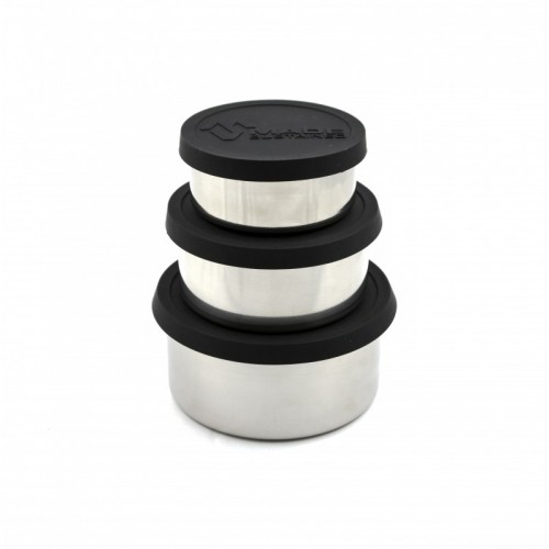 Runde Lunchbox aus Edelstahl mit Silikondeckel in Schwarz