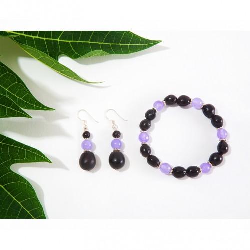 Beejika Schmuckset Achat violett & braune Samen - Sundara