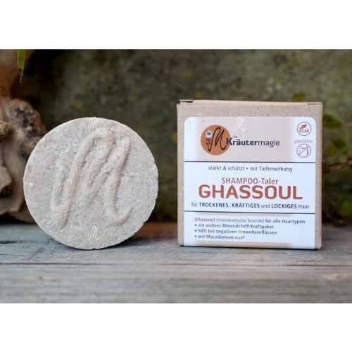 Vegan Shampoo-Taler Ghassoul für alle Haartypen | Kräutermagie