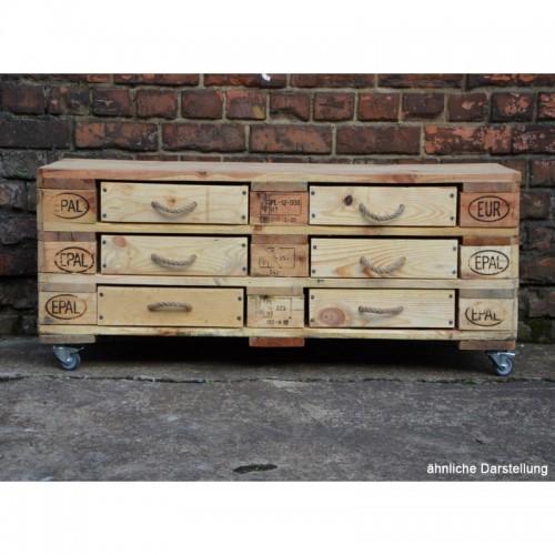 Sideboard aus recycelten Europaletten mit 6 Schubladen