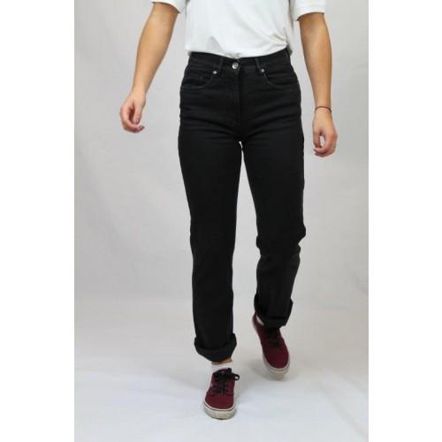 Klassische Straight-fit Bio Jeans, schwarz, Cuffed Style | bloomers