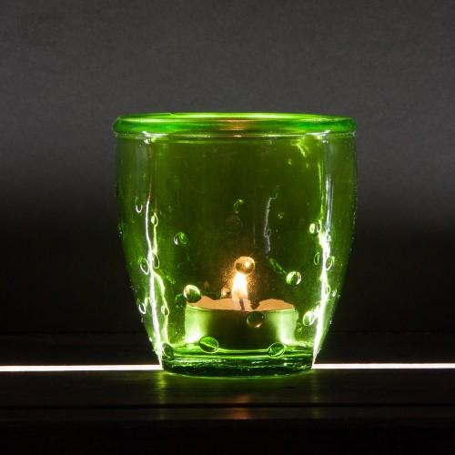 Teelichtglas 'Feeling' Recyclingglas grün | VSanmiguel