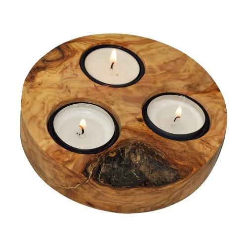 Teelichthalter aus Wurzel-Olivenholz für drei Kerzen | D.O.M.