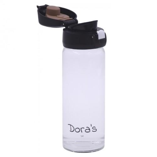 Dora's Glas Thermobecher mit Einhandverschluss & Teesieb