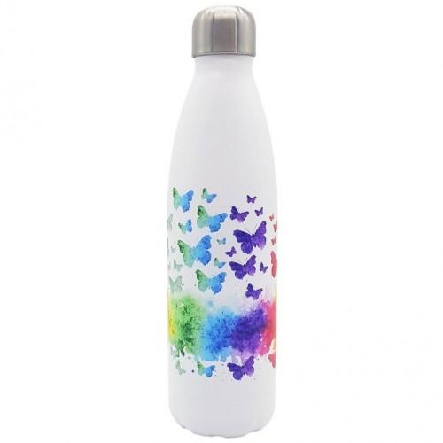 Dora's Edelstahl Thermoflasche bunte Schmetterlinge