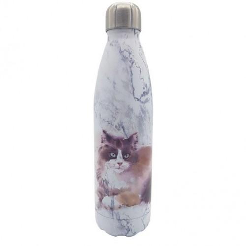 Dora's Thermoflasche KATZE auf MARMOR - Edelstahl