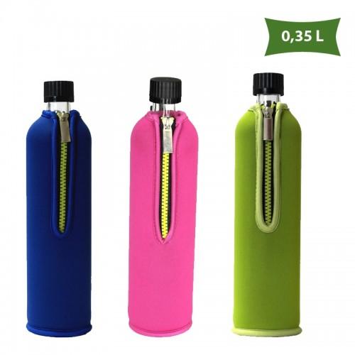 Dora's kleine Glasflasche mit Neoprenbezug 0,35 L