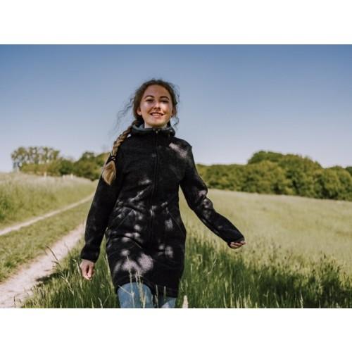 Damen Bio Walkmantel mit Kapuze, anthrazit, Bio Schurwolle | Ulalü