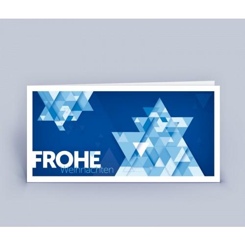 Öko Weihnachtskarte Ster blau, DIN lang | eco-cards-shop