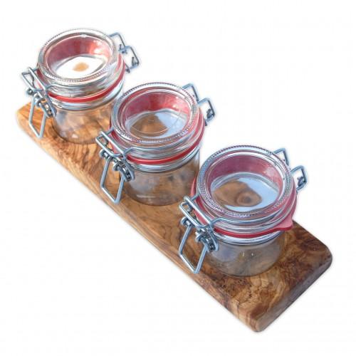 VASETTI 3 Bügelverschlussgläser auf Olivenholz Tablett | D.O.M.