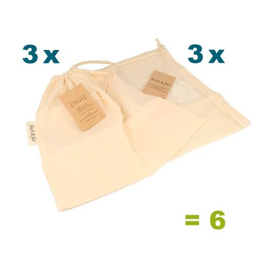 6er Set Einkaufsbeutel & Obstnetz - Bio-Baumwolle | fesch & fair