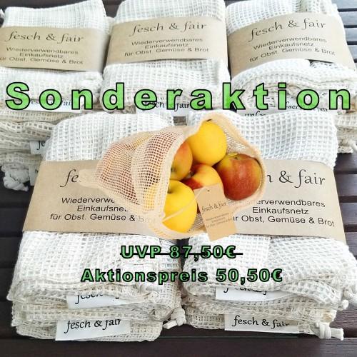 25 Obst- und Gemüsenetze, Bio-Baumwolle, Kordelzug | fesch & fair