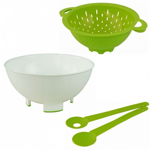 Greenline Salat-Set: Schüssel, Sieb & Salatbesteck | Gies