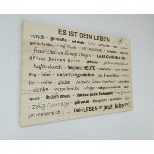 """Holzpost Wandbild """"Es ist Dein Leben"""" aus Fichtenholz"""